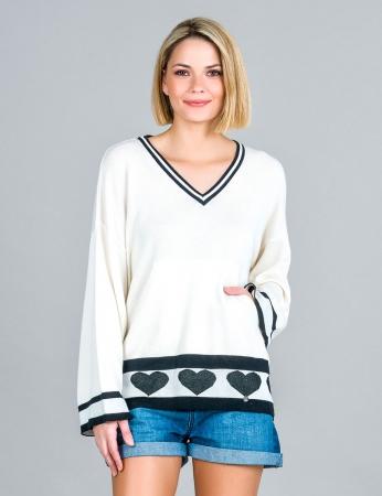 Suéter Decote en V con Corazones  - Blanco Roto